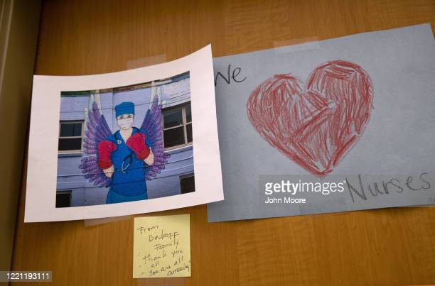 Drawings hang in a Stamford Hospital intensive care unit on April 24 2020 in Stamford Connecticut Stamford Hospital like many across the US opened...