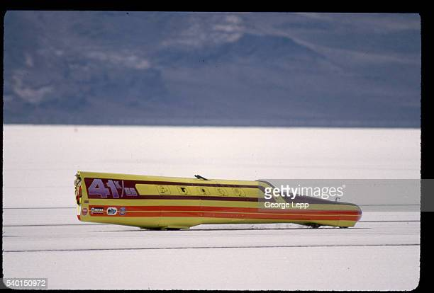 Drawings of Peanuts characters decorate the side of a K/Gas Streamliner with a 440cc Rotax engine racing at the Bonneville Salt Flats in Utah