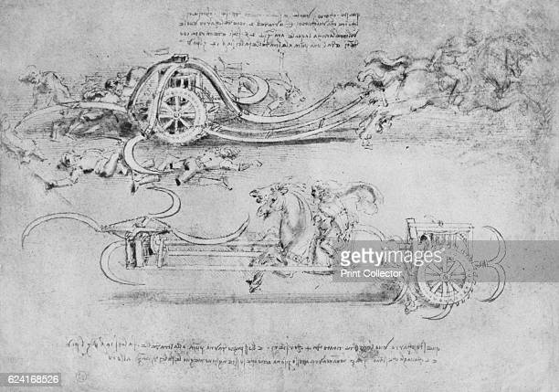 Drawings of Two Types of Chariot Armed with Scythes' c1480 From The Drawings of Leonardo da Vinci [Reynal Hitchcock New York 1945] Artist Leonardo da...