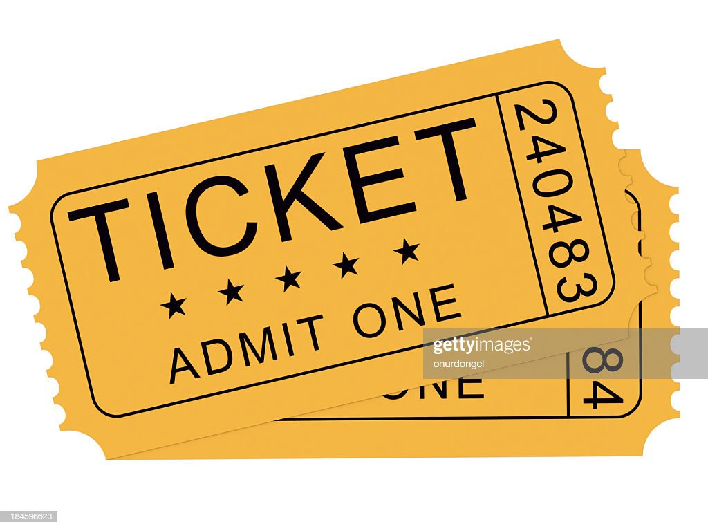 A drawings of two yellow tickets, used for admittance : Stock Photo