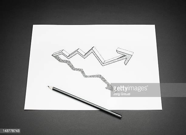 A drawn graph on a paper sheet