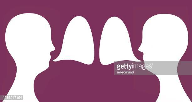 drawn human head and speech bubble - human interest stock pictures, royalty-free photos & images
