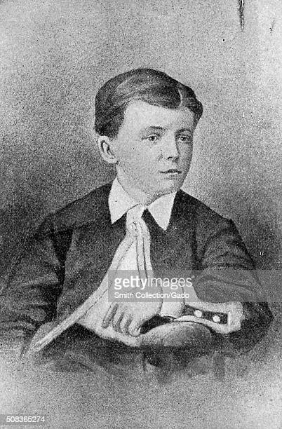 Drawn portrait of Theodore Roosevelt as a boy about 10 years old 1868