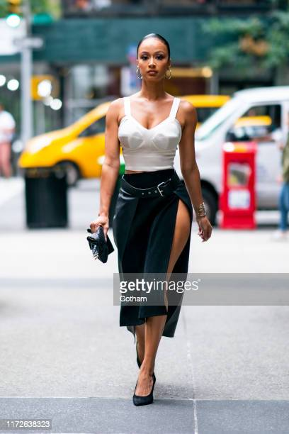 Draya Michele is seen wearing Murmur with Sam Edelman shoes Glomesh handbag Bittar bracelet and Noa earrings in Midtown on September 05 2019 in New...