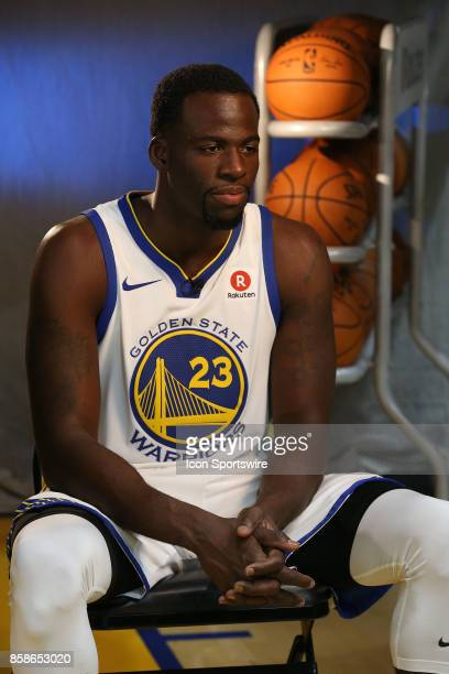 Draymond Green appears at the Golden State Warriors media day September 22 2017 at the Rakuten Performance Center in Oakland CA