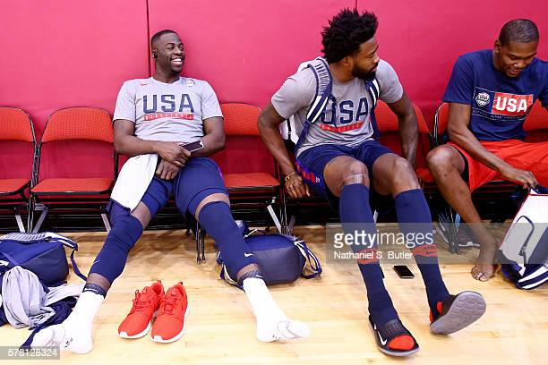 Draymond Green DeAndre Jordan and Kevin Durant of the USA Basketball Men's National Team laugh as they get ready for practice on July 20 2016 at...