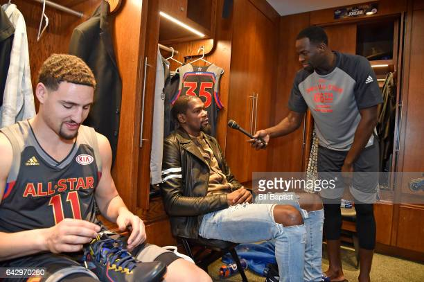 Draymond Green interviews Kevin Durant of the Western Conference before the NBA AllStar Game as a part of 2017 AllStar Weekend at the Smoothie King...