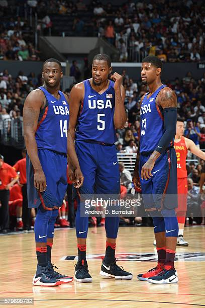 Draymond Green Kevin Durant and Paul George of the USA Basketball Men's National Team are seen against China at the Staples Center in Los Angeles...