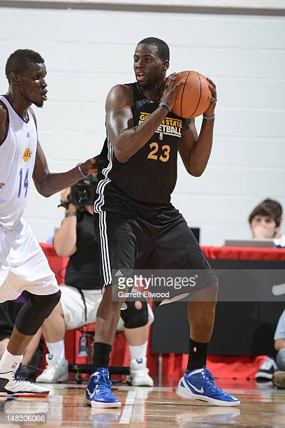Draymond Green of he Golden State Warriors posts up versus the Los Angeles Lakers during NBA Summer League on July 13 2012 at Cox Pavilion in Las...