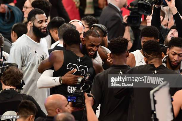 Draymond Green of Team Stephen and LeBron James of Team LeBron hug after the NBA AllStar Game as a part of 2018 NBA AllStar Weekend at STAPLES Center...