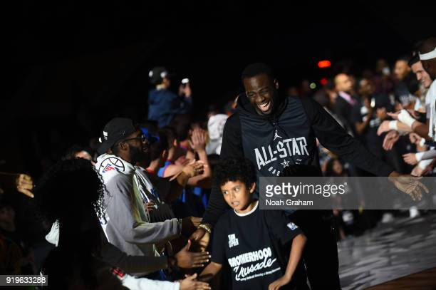 Draymond Green of team Stephen is introduced during the 2018 NBA All Star Practice as part of 2018 AllStar Weekend at Verizon Up Arena at LACC on...