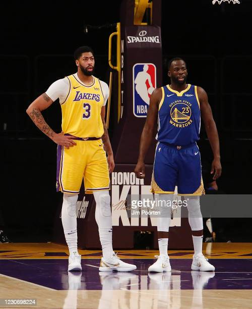 Draymond Green of the Golden State Warriors against Anthony Davis of the Los Angeles Lakers on January 18, 2021 at STAPLES Center in Los Angeles,...