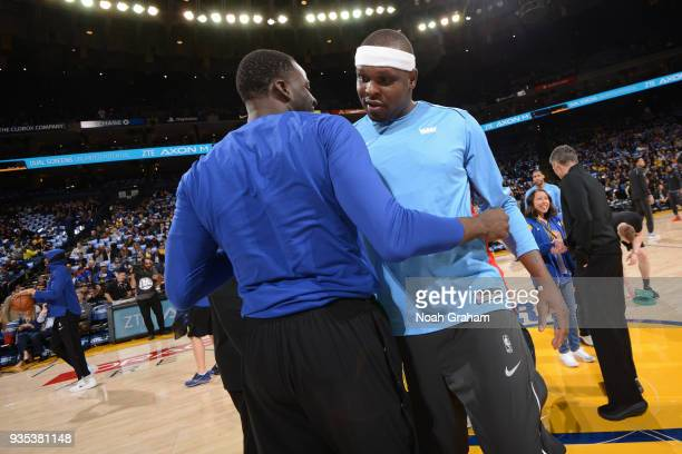 Draymond Green of the Golden State Warriors and Zach Randolph of the Sacramento Kings exchange a hug after the game between the two teams on March 16...