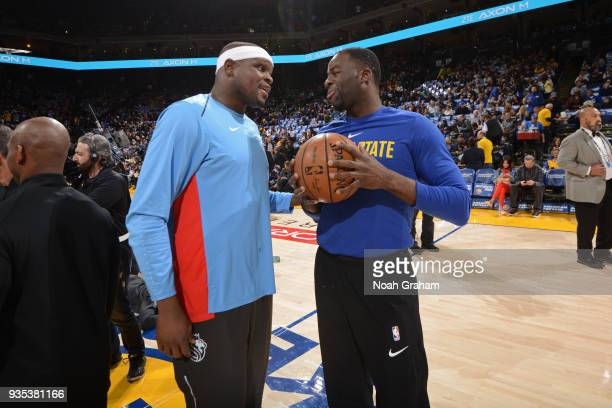 Draymond Green of the Golden State Warriors and Zach Randolph of the Sacramento Kings talk after the game between the two teams on March 16 2018 at...