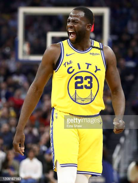 Draymond Green of the Golden State Warriors argues with referee Tyler Ford after he received his second technical foul of their game against the Los...