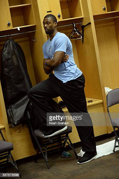 Draymond Green of the Golden State Warriors arrives at his locker before Game Five of the Western Conference Finals against the Oklahoma City Thunder...