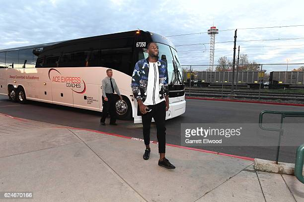 Draymond Green of the Golden State Warriors arrives at the arena before the game against the Denver Nuggets on November 10 2016 at the Pepsi Center...