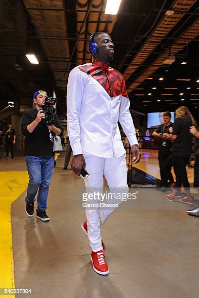 Draymond Green of the Golden State Warriors arrives before Game Four of the 2016 NBA Finals against the Cleveland Cavaliers at The Quicken Loans...