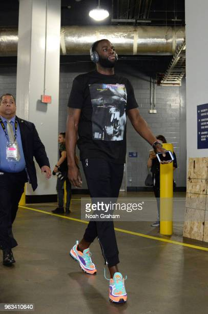 Draymond Green of the Golden State Warriors arrives before Game Seven of the Western Conference Finals against the Houston Rockets during the 2018...