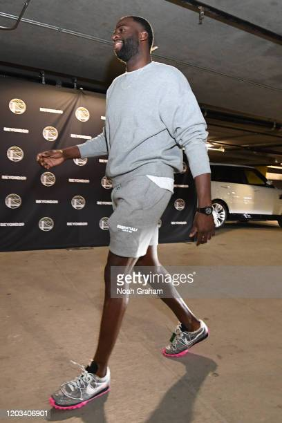 Draymond Green of the Golden State Warriors arrives prior to a game against the Sacramento Kings on February 25 2020 at Chase Center in San Francisco...