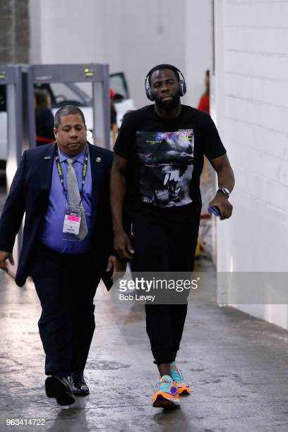 Draymond Green of the Golden State Warriors arrives prior to the start of Game Seven of the Western Conference Finals of the 2018 NBA Playoffs...