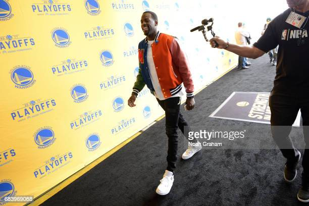Draymond Green of the Golden State Warriors arrives to the arena before the game against the San Antonio Spurs during Game Two of the Western...