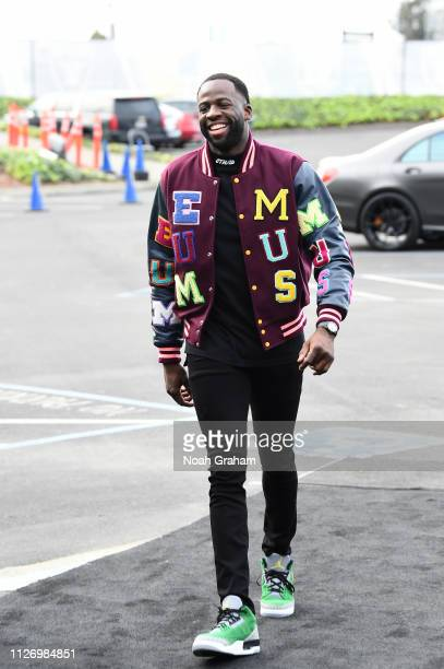 Draymond Green of the Golden State Warriors arrives to the game against the Houston Rockets on February 23 2019 at ORACLE Arena in Oakland California...