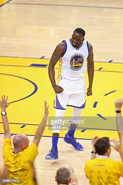 Draymond Green of the Golden State Warriors celebartes during Game Two of the 2016 NBA Finals against the Cleveland Cavaliers on June 5 2016 at...
