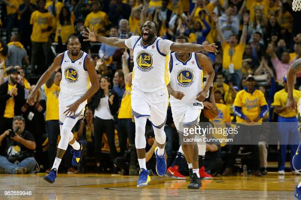 Draymond Green of the Golden State Warriors celebrates a basket during Game One of the Western Conference Semifinals against the New Orleans Pelicans...