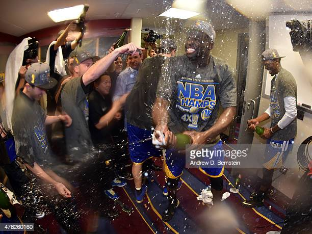 Draymond Green of the Golden State Warriors celebrates after the Golden State Warriors' win against the Cleveland Cavaliers during Game Six of the...