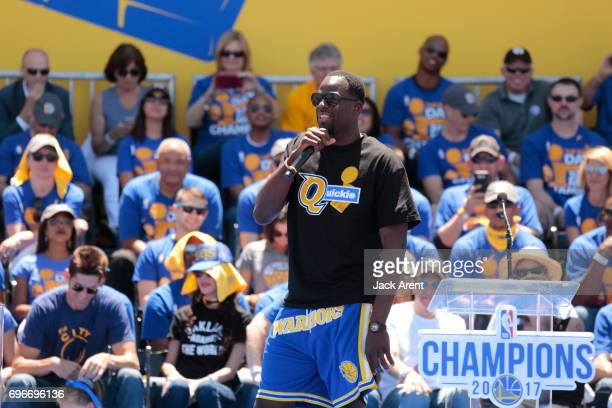 Draymond Green of the Golden State Warriors celebrates winning the 2017 NBA Championship during a parade on June 15 2017 in Oakland CA NOTE TO USER...