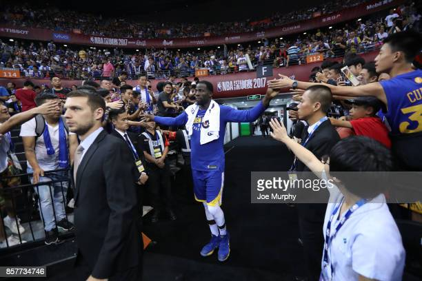 Draymond Green of the Golden State Warriors comes through the tunnel after halftime against the Minnesota Timberwolves as part of the 2017 Global...
