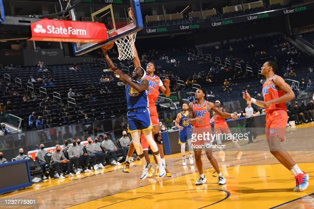 Draymond Green of the Golden State Warriors drives to the basket against the Oklahoma City Thunder on April 8, 2021 at Chase Center in San Francisco,...