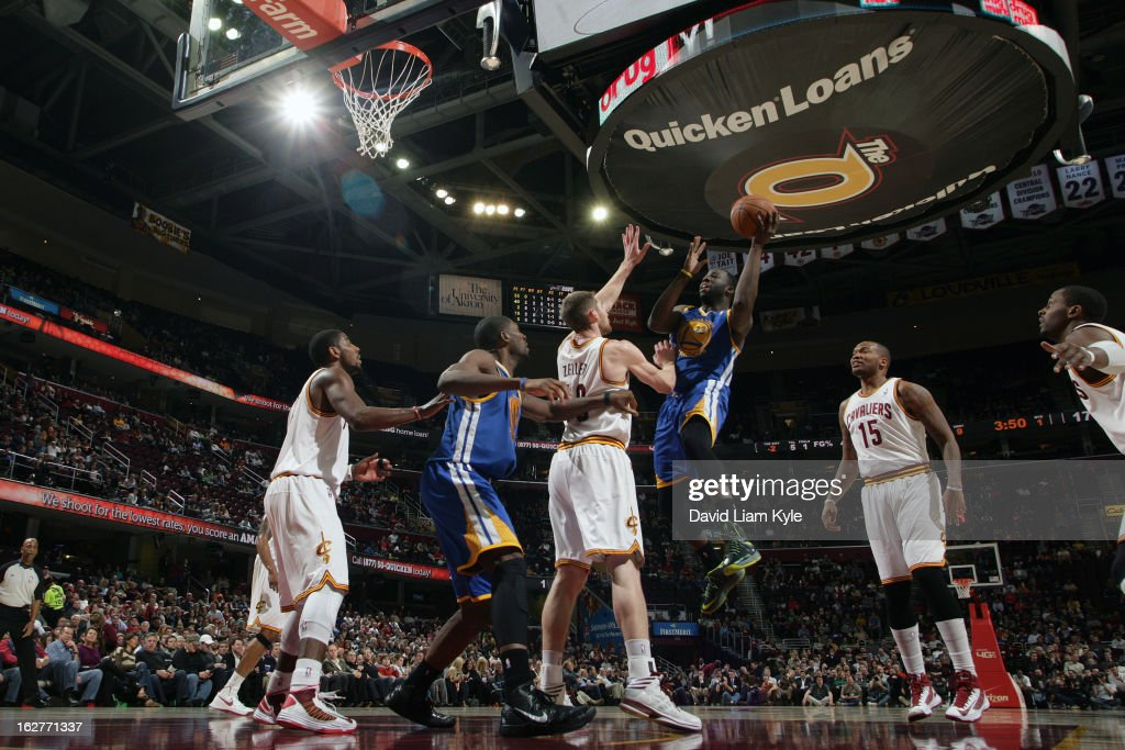 Draymond Green #23 of the Golden State Warriors drives to the basket against the Cleveland Cavaliers at The Quicken Loans Arena on January 29, 2013 in Cleveland, Ohio.