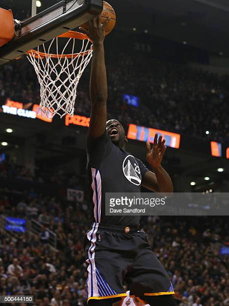 Draymond Green of the Golden State Warriors drives to the basket against the Toronto Raptors on December 5 2015 at Air Canada Centre in Toronto...
