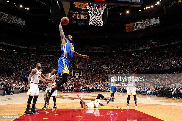 Draymond Green of the Golden State Warriors drives to the basket against the Cleveland Cavaliers during the 2016 NBA Finals Game Three on June 8 2016...