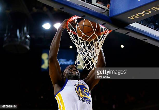 Draymond Green of the Golden State Warriors dunks in the second quarter against the Cleveland Cavaliers during Game One of the 2015 NBA Finals at...