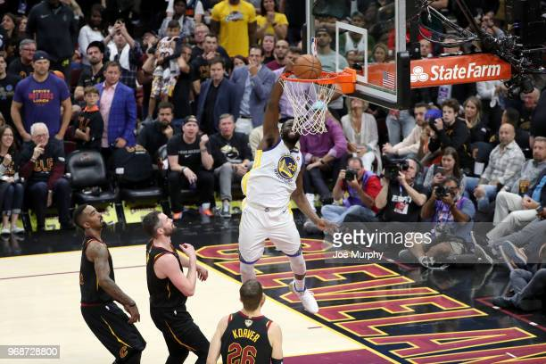 Draymond Green of the Golden State Warriors dunks the ball against the Cleveland Cavaliers in Game Three of the 2018 NBA Finals on June 6 2018 at...