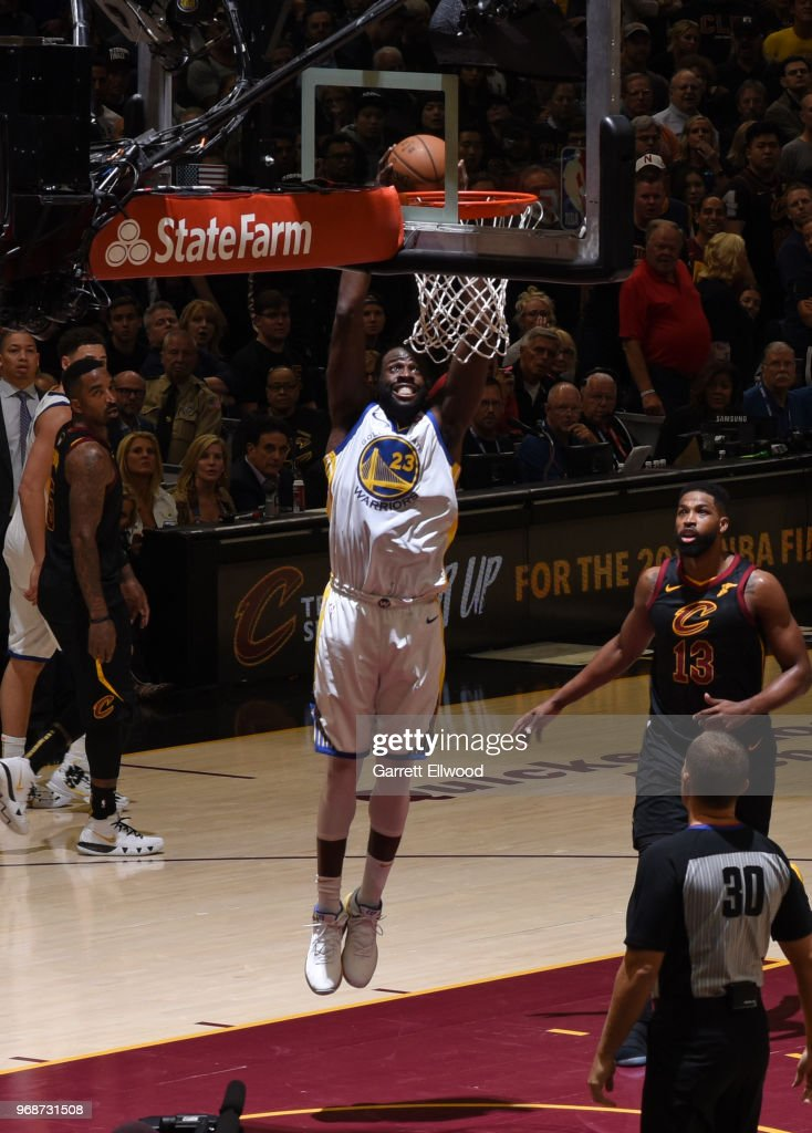 Draymond Green #23 of the Golden State Warriors dunks the ball against the Cleveland Cavaliers during Game Three of the 2018 NBA Finals on June 6, 2018 at Quicken Loans Arena in Cleveland, Ohio.