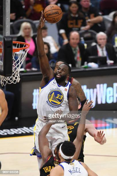 Draymond Green of the Golden State Warriors goes up against the Cleveland Cavaliers during Game Three of the 2018 NBA Finals at Quicken Loans Arena...