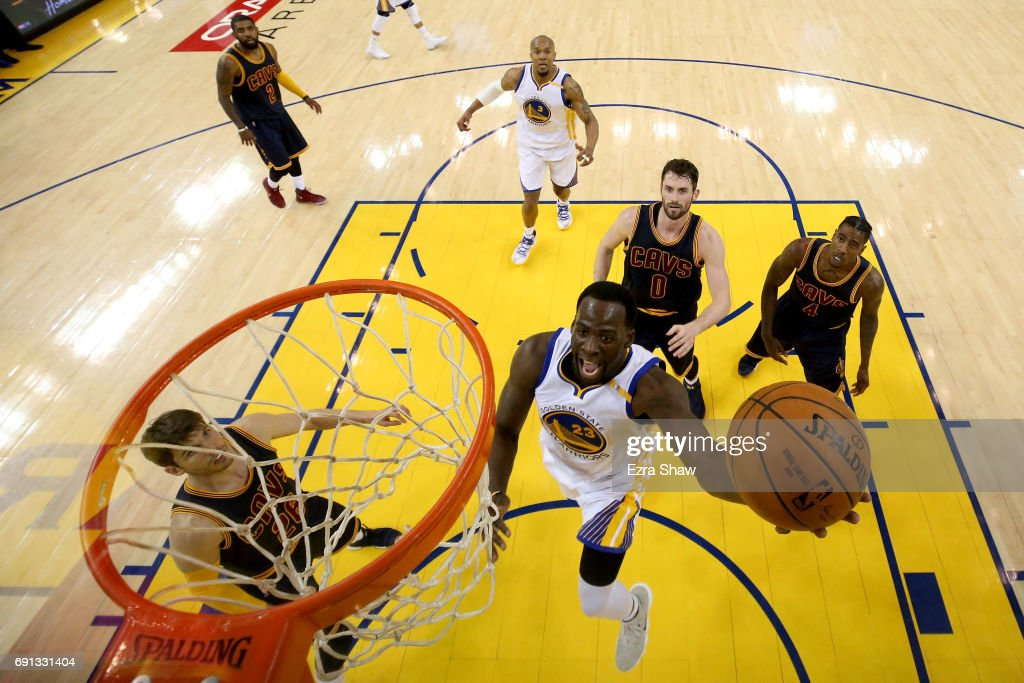 Draymond Green #23 of the Golden State Warriors goes up for a shot against the Cleveland Cavaliers in Game 1 of the 2017 NBA Finals at ORACLE Arena on June 1, 2017 in Oakland, California.