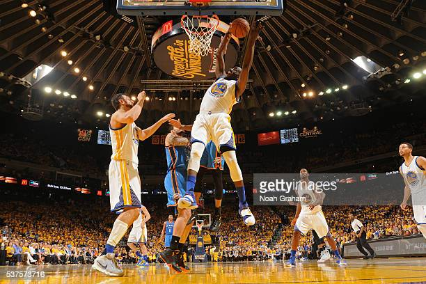 Draymond Green of the Golden State Warriors grabs a rebound in Game Five of the Western Conference Finals against the Oklahoma City Thunder during...
