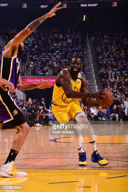Draymond Green of the Golden State Warriors handles the ball against the Los Angeles Lakers on February 27 2020 at Chase Center in San Francisco...