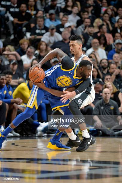 Draymond Green of the Golden State Warriors handles the ball against the San Antonio Spurs during Game Three of the Western Conference Quarterfinals...