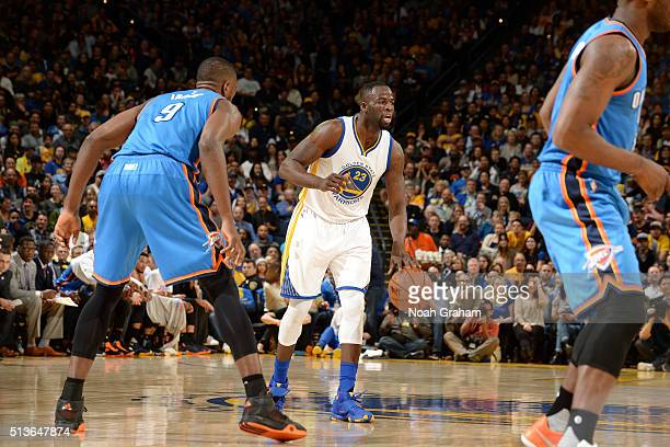 Draymond Green of the Golden State Warriors handles the ball during the game against the Oklahoma City Thunder on March 3 2016 at ORACLE Arena in...