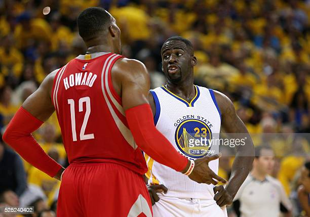 Draymond Green of the Golden State Warriors has words with Dwight Howard of the Houston Rockets in Game Five of the Western Conference Quarterfinals...
