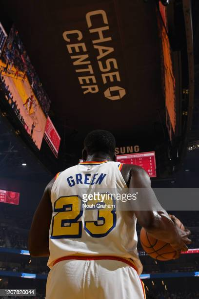 Draymond Green of the Golden State Warriors inbounds the ball against the Houston Rockets on February 20 2020 at Chase Center in San Francisco...