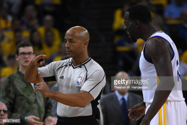 Draymond Green of the Golden State Warriors is called for a technical foul by referee Marc Davis during Game One of the NBA Western Conference Finals...