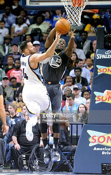Draymond Green of the Golden State Warriors jumps to block a shot by Jordan Farmar of the Memphis Grizzlies during the second half at FedExForum on...