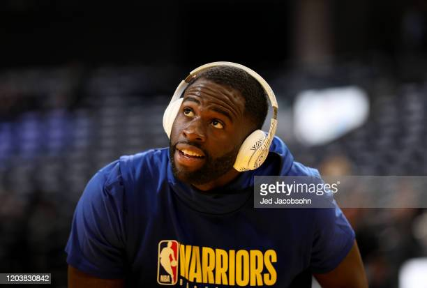 Draymond Green of the Golden State Warriors looks on against the Los Angeles Lakers prior to his game against on February 27 2020 at Chase Center in...